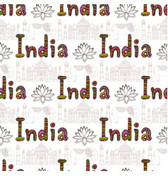India seamless pattern with taj mahal and culture vector