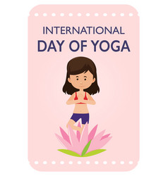 International day of yoga banner with woman doing vector