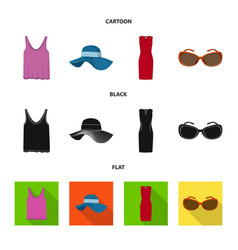 isolated object of woman and clothing sign set of vector image