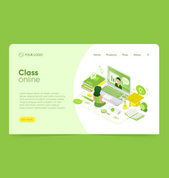 isometric class online - landing pages with green vector image