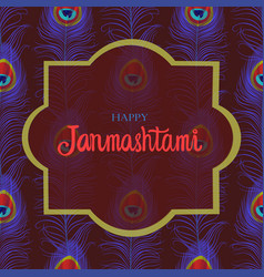 janmashtami greeting card with peacock feathers vector image