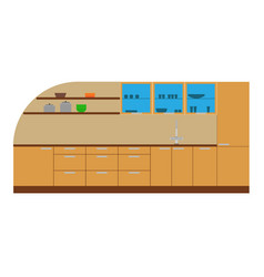 kitchen cabinet furniture interior icon design vector image