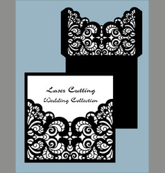 laser cut wedding card template invitation vector image