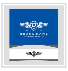 Letter d pin map wing logo design concept vector