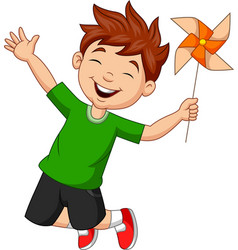 Little boy jumping with a paper windmill vector