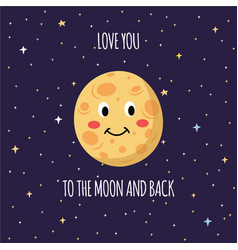 love you to moon and back text and moon flat vector image