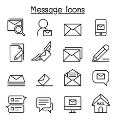 Mail message newsletter icon set in thin line vector