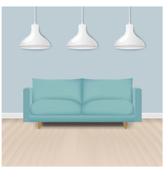 Mint modern sofa with lamp background vector