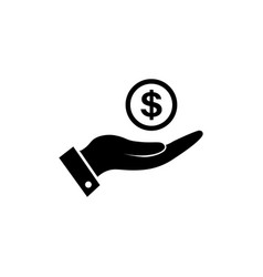 money in hand icon in black vector image