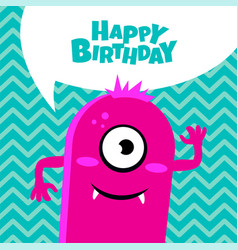 Monster party card design happy birthday card vector