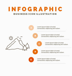 mountain landscape hill nature scene infographics vector image
