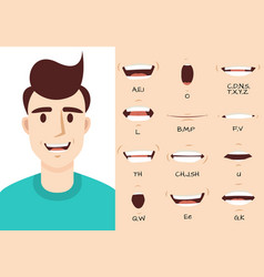 Mouth animation male talking mouths lips for vector