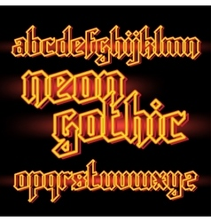 Neon light gothic font vector image