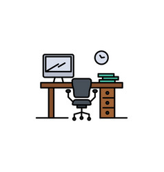Office space chair office table room flat color vector
