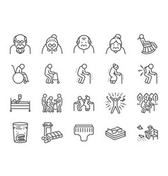 old man line icon set vector image