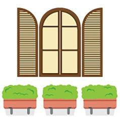 Open Vintage Arc Window With Pot Plants Below vector