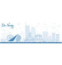 Outline da nang vietnam city skyline with blue vector