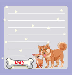 Paper template with two dogs and bone vector