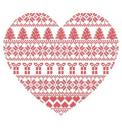 Pattern cross stitch heart shape vector image