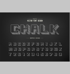 pencil sketch shadow bold font and alphabet vector image