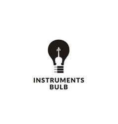 piano violin cello fiddle music light bulb logo vector image