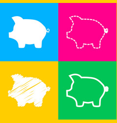 pig money bank sign four styles of icon on four vector image