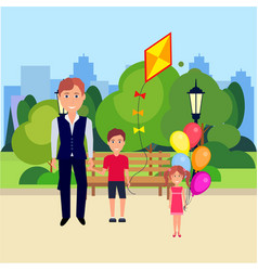Public park father boy hold kite girl with bubbles vector