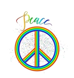 Rainbow peace logo with vector
