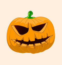 Realistic halloween pumpkin with candle inside vector