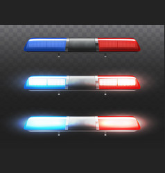 realistic red blue flashers for police car vector image