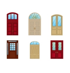 Room door set of icons interior entrance design vector
