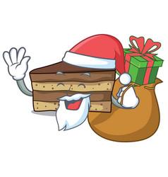 Santa with gift tiramisu mascot cartoon style vector