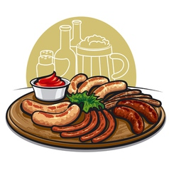 Sausages grilled vector