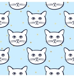 Seamless pattern with cute cats animal and gold vector image