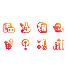 Seo gear chemistry experiment and swipe up icons vector