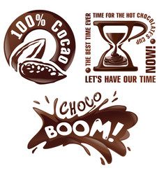 set chocolate signs and labels vector image