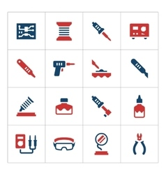 Set color icons of soldering vector