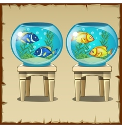 Set of two aquariums with fish on wooden stools vector
