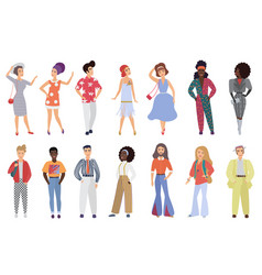 Set young men and women wearing retro disco vector