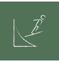 Ski jumping icon drawn in chalk vector image