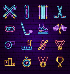 sports neon icons vector image