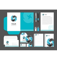 Stationery design set black turquoise corporate vector