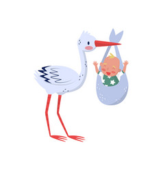 stork holding bag with cheerful child bird and vector image