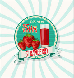 strawberry natural retro vintage background vector image