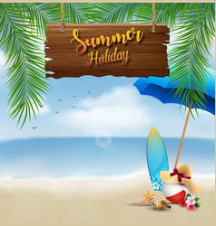 Summer holiday background with a wooden sign vector