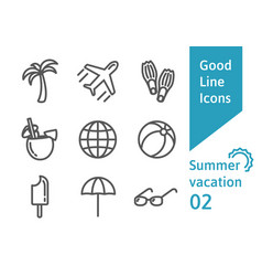 Summer vacatin outline icons set vector