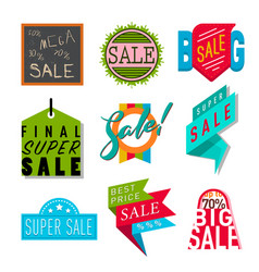 super sale extra bonus banners text in color drawn vector image