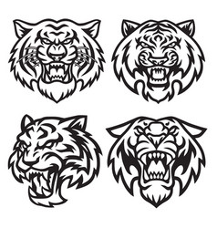 tiger head logo set collection design vector image