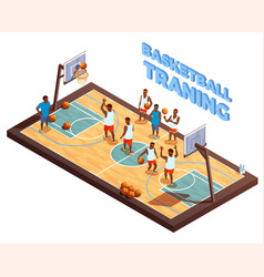 Training basketball isometric composition vector