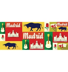 Travel and tourism icons madrid vector